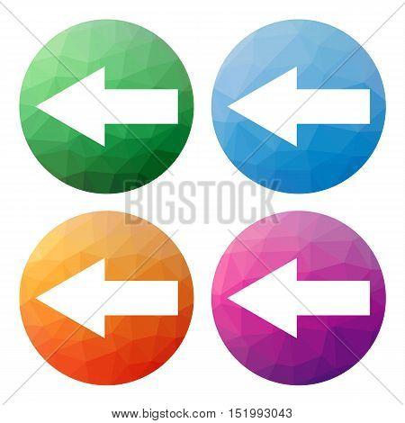 Set  Of 4 Isolated Modern Low Polygonal Buttons - Icons - For Arrow Pointing Left