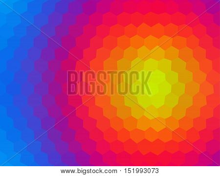 Abstract low polygonal - mosaic geometry hexagon fantasy background in spectrum rainbow colors shapes of honeycomb rhombus
