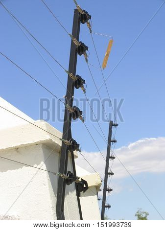 Electric Security Fencing On Front Yard Wall 01acx