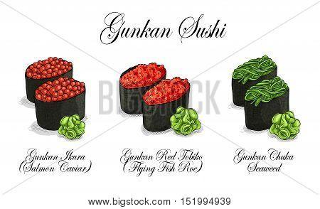 Sushi roll gunkans set japanese food, Vector set, color sketch