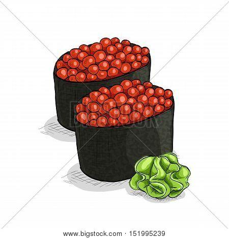 Vector sushi color sketch, Gunkan Ikura. Vector illustration, EPS 10