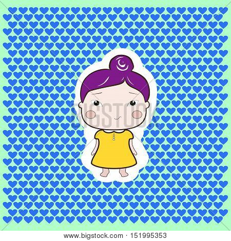 Cute Foxy Plum Hair Cartoon Drawing Style Foxy Baby Girl On Dotted BAckground