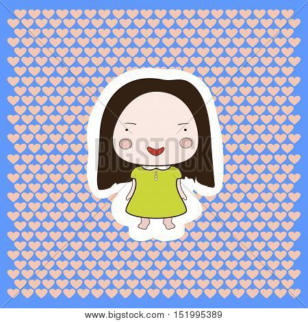 Cute Happy Smiling Cartoon Drawing Style baby Girl On Dotted Background