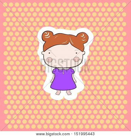 Cute Red Hair Cartoon Draawing Cutout Style  Baby Girl