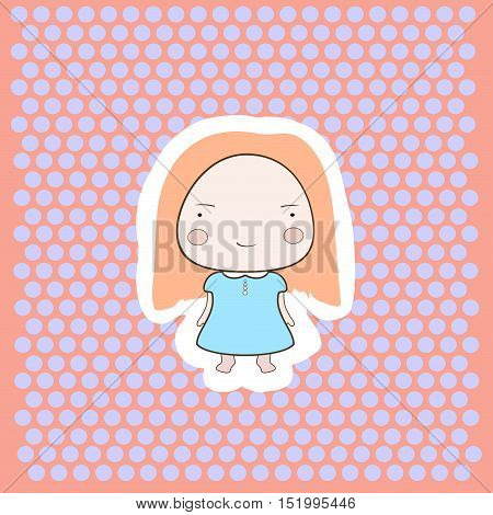 Cute Happy Smiling Peach Hair Cartoon Baby Girl On Dotted