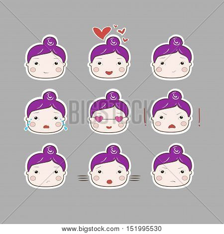 Cute Simple Drawing Plum Hair Baby Girl Emotions Set on Grey Background