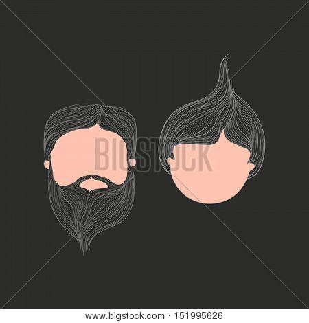 Girl & Man Head Vector lines Illustration   Avatar On Dark Grey Background
