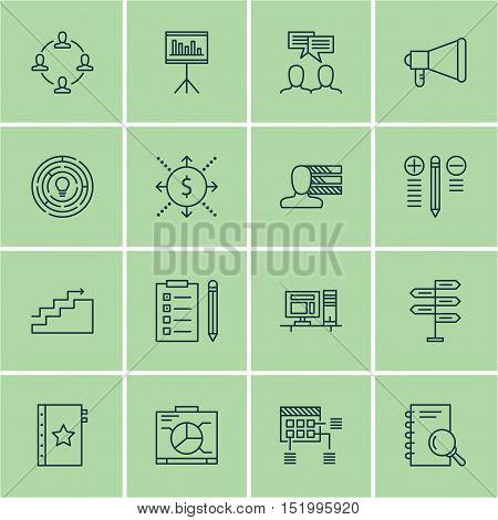Set Of 16 Universal Editable Icons For  Topics. Includes Icons Such As Board, Reminder, Schedule And