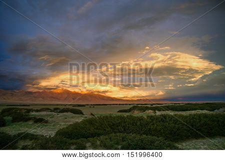 Beautiful sunset over the landscape in the remote area of Central Tibet