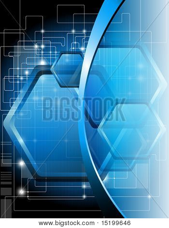 Blue technical background - vector illustration