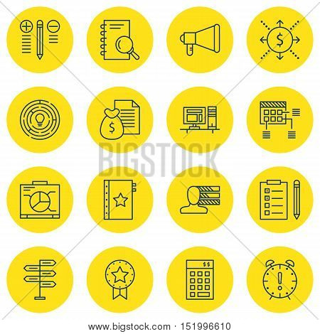 Set Of Project Management Icons On Reminder, Schedule, Board And Other Topics. Editable Vector Illus