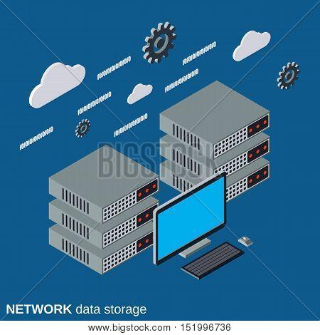 Network data storage flat isometric vector illustration