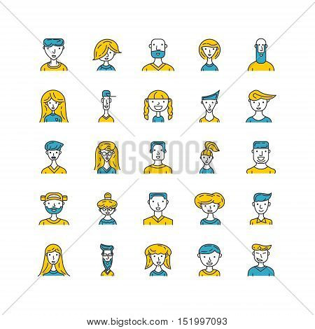 People avatar line set. Flat line color illustration of human avatar. People vector image for profile of website, social media, social network and etc. Vector illustration of man or woman.