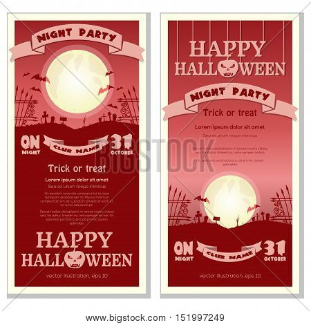 Halloween night party. Red invitation card template. Full moon over the cemetery. Vector illustration