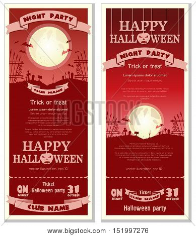 Red invitation card for Halloween night party. Full moon over the cemetery. Vector illustration