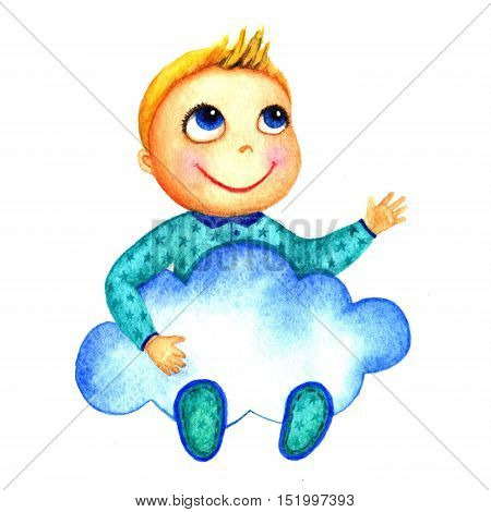 One little cute smiling boy holding a big blue cloud in his hands. Charity babies. Kid dreams and hopes to receive charity. Isolated watercolor drawing on a white background. Greeting card, banner, print, poster, sticker, website.