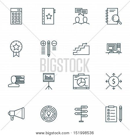 Set Of Project Management Icons On Present Badge, Investment, Decision Making And Other Topics. Edit