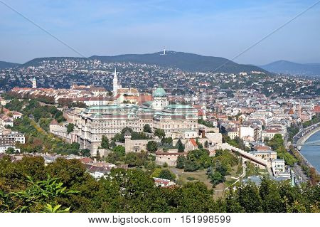 View from Gellert Hill of Buda Castle is the historical castle and palace complex of the Hungarian kings in Budapest