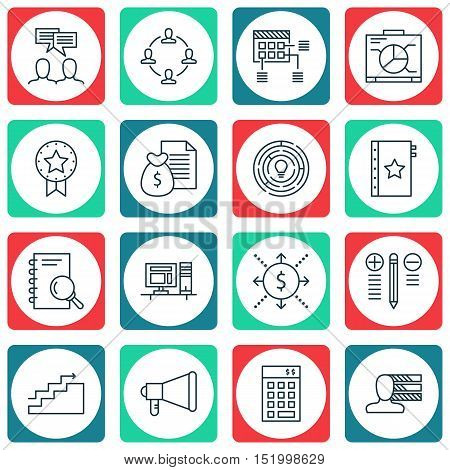 Set Of Project Management Icons On Board, Computer, Decision Making And Other Topics. Editable Vecto