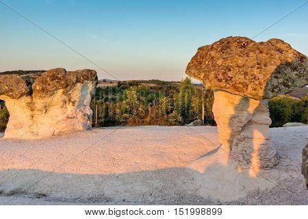 Sunrise Panorama of rock formation The Stone Mushrooms, Kardzhali Region, Bulgaria