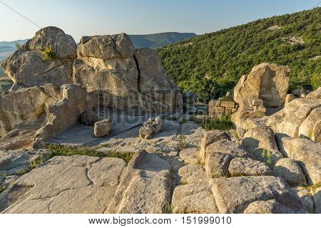 Sunrise view of Ruins of The ancient Thracian city of Perperikon, Kardzhali Region, Bulgaria