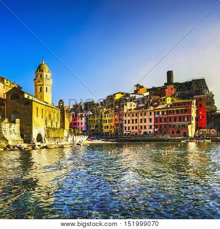 Vernazza village church rocks and sea harbor on sunset Seascape in Five lands Cinque Terre National Park Liguria Italy Europe