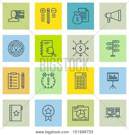 Set Of 16 Universal Editable Icons For  Topics. Includes Icons Such As Board, Time Management, Perso