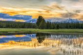 Beautiful vivid sunset at Yellowstone National Park. Mountains and sky is reflecting in a lake. Wyom poster