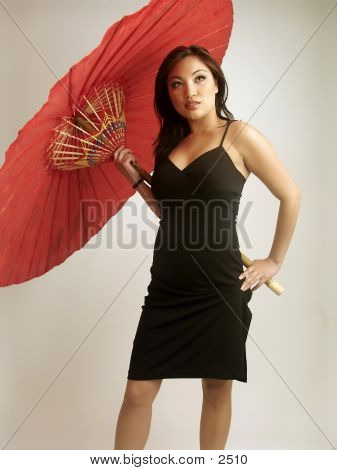 Khristine With A Red Umbrella