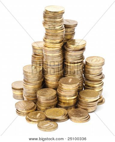 Gold Coin Towers On White