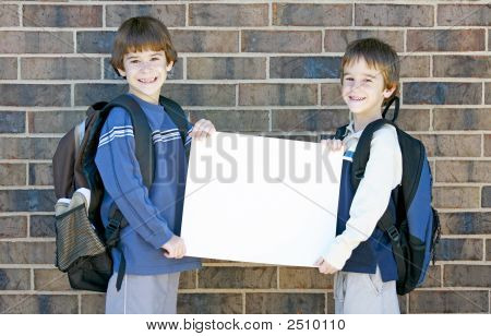 School Kids Holding Blank Sign