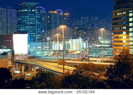 Highway Through Downtown In Hong Kong