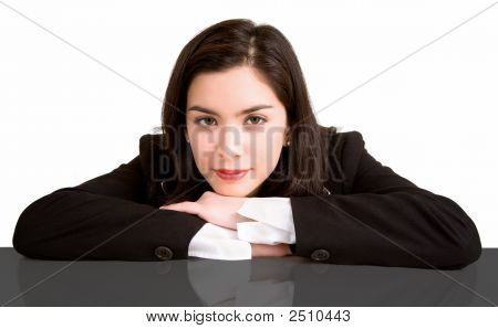 Businesswoman Resting On Her Desk