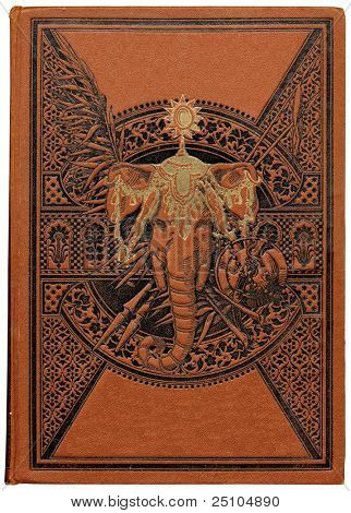 vintage book about India with engraved floral decoration and elephant's head