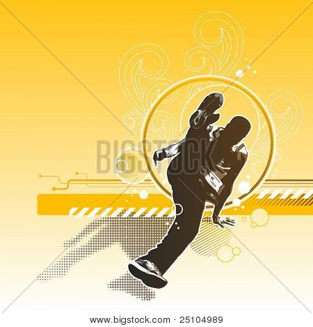 retro-style breakdance background with street-artist, flourishes and circles