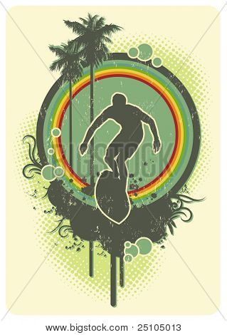 colorful retro surf emblem with rainbow and Palm-trees