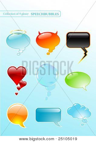 collection of 9 glossy speech-bubbles