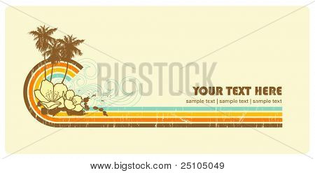 retro-styled summer- or surf-banner with copy space for your text
