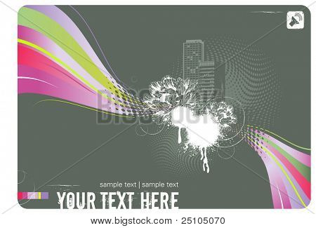 party-flyer design or background with city-skyline, abstract rainbow-flow, floral and grungy elements