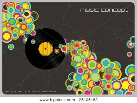 retro music-background with colorful bubbles and vinyl record (linework behind is complete, therefor also usable without record)