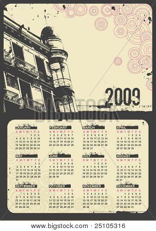 grunge urban calendar 2009 (starts sunday)