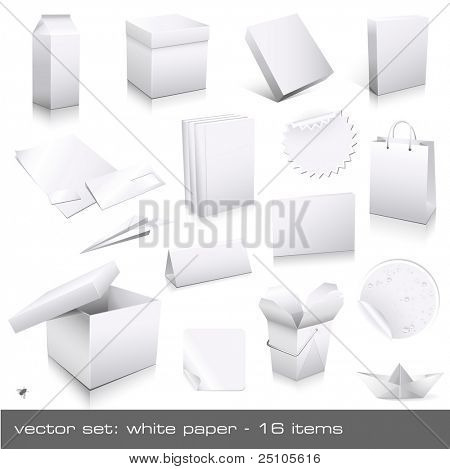 vector set: white paper - packaging and ci-dummies to place your design on, 16 pieces
