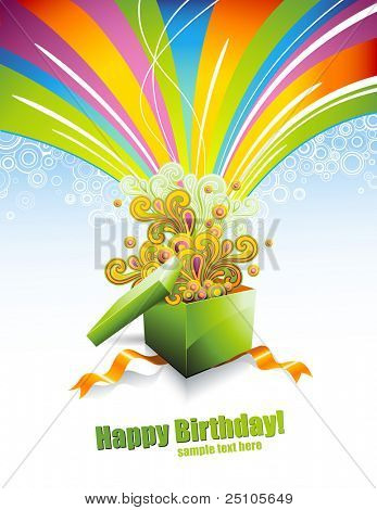 greeting card or background with gift-box and rainbow-colored swirls