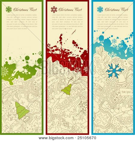 set of three christmas banners with doodles, splats, snoflakes and copyspace for your text