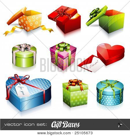 set of nine colorful vector gift boxes