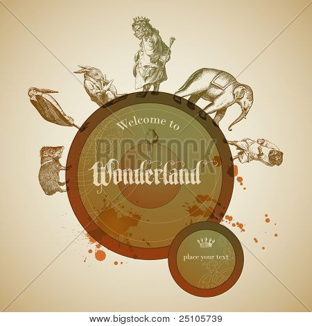 children's fairy tale design element with vintage animals