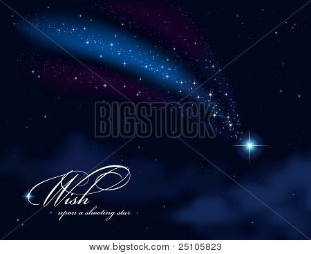 wish upon a shooting star - background or greeting card with night sky and falling star (gradient mesh used)