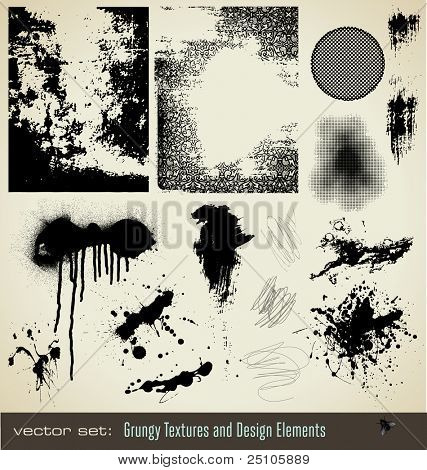 collection of grungy textures and design elements