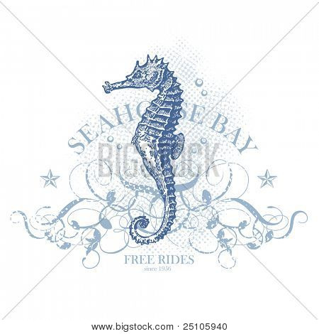 seahorse bay - retro summer design element with seahorse (grunge is removable)
