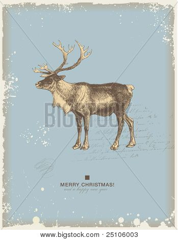 snowy retro christmas/winter background or greeting card with reindeer